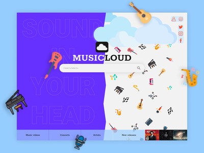 Musicloud music icon web design web ux ui logo design