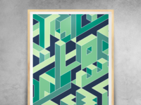 Abstract - isometric - green