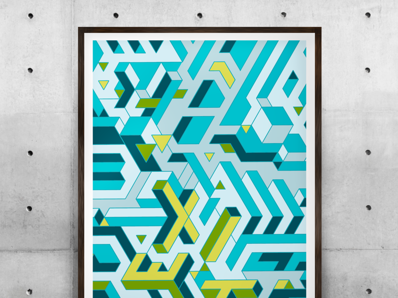 Exit — abstract isometric exit pixel wallart poster isometric