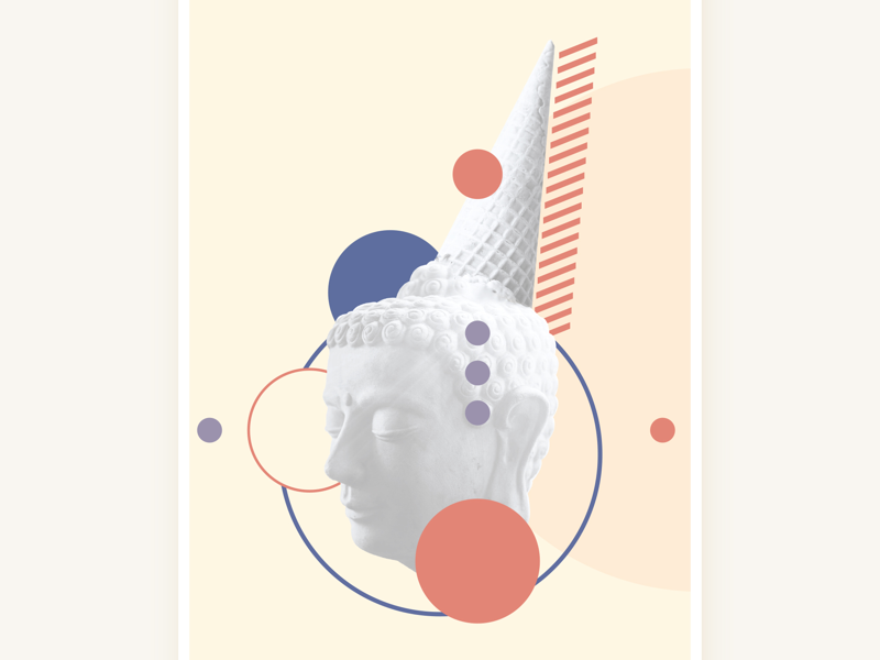 HelloBudeam jalokimgraphics buddha icecream poster marble