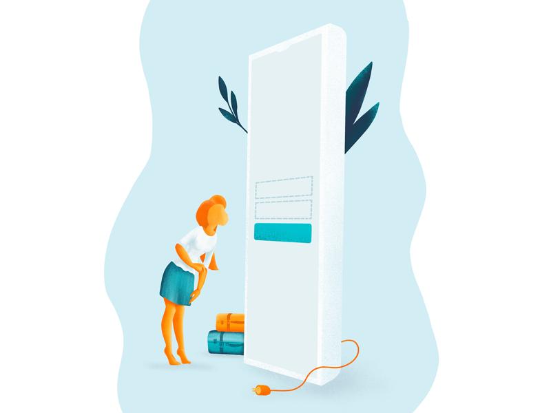 Hmm... how to log in? mobile design illustration drawing iu ux