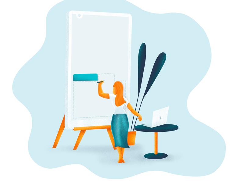 Adding tabs mobile lady illustration ui ux