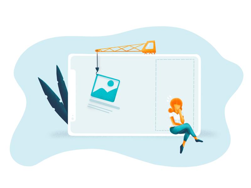 Web design vs Mobile design illustration ui ux