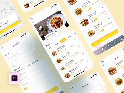 Food Delivery Mobile App vector illustration landing page web ux design branding app food app design logo motion graphics graphic design 3d animation ui
