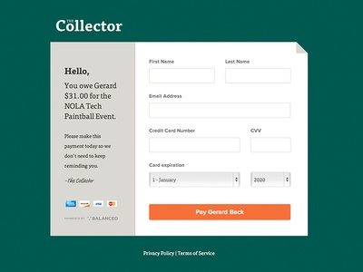 Collector flat commerce form