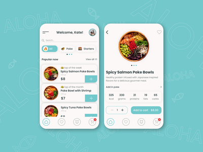 ALOHA Poke. Poke Delivery App. blue and white delivery food delivery app delivery app ux ui figma design