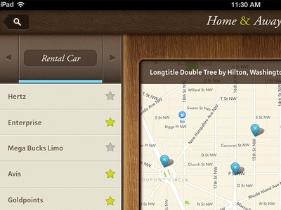 DoubleTree iPad App - Map Screen Partial View