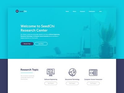 Research Center Website landing page institutional education professional web design blue web website company profile