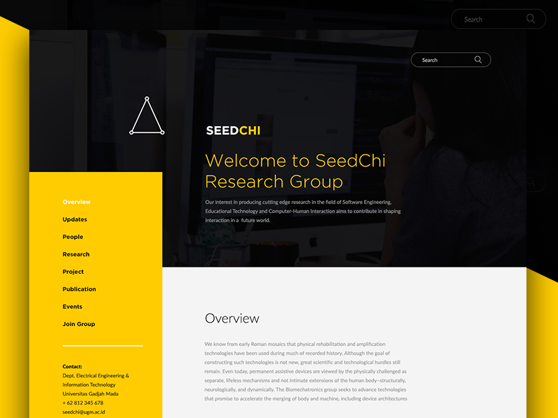 Research Group - Landing Page web design website web black yellow company profile university professional institution education research landing page