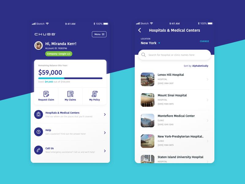CHUBB Insurance App - Company Insurance Interface hospital medical teal blue ios app mobile clean finance health mobile app insurance