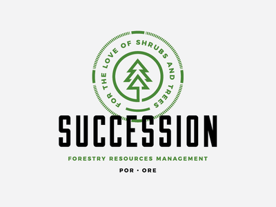 Succession   Forestry Resources Management retro style vintage modern green forest tree stamp typography block branding mark logo