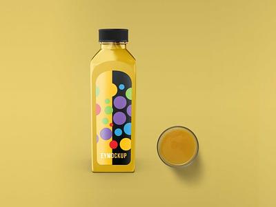 Juice bottle label mockup packaging design illustration mockup label bottle juice