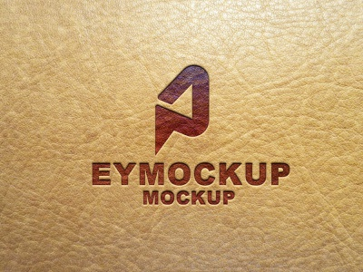 Premium Leather Logo Mockup ui scale vector logo branding ux packaging illustration design mockup