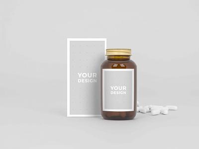 Capsule Medical Bottle Mockups icon typography ui vector ux logo illustration branding design mockup best new free syrup medicine medical bottle