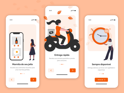 Food Delivery App: Onboarding Screens delivery onboarding app ux ui marmitaria restaurant food design brazil