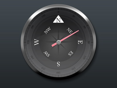 Compass compass surfing report device widget clean skeuomorph metal