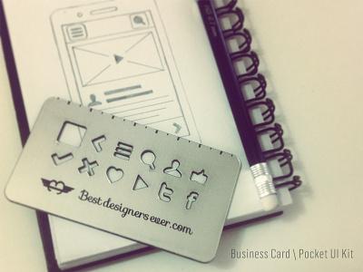 Business Card \ Pocket UI Kit business card ui kit best designers ever sketch wireframing stencil iphone