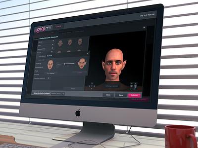 Digimi app slider 3d avatar dark game web popup gui gallery