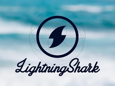 Lightning Shark Logo lightning shark logo branding surf identity circles golden