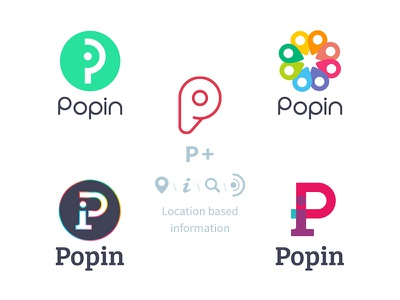 Popin logo logo location based information feedback search radar colors typography
