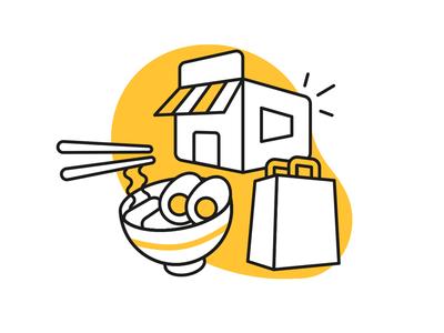 Glovo Partners illustrator vector delicious bag ramen store partners delivery glovo