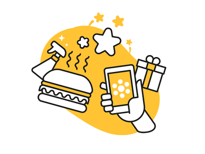 Customer at Glovo design illustrator illustration vector gift star burger food delivery app glovo customer