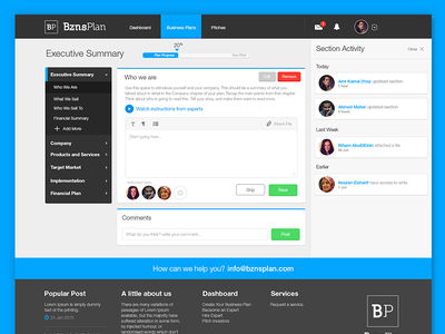 BuznsBuilder V2 visual design user interface dashboard businessplan tool productivity ux ui