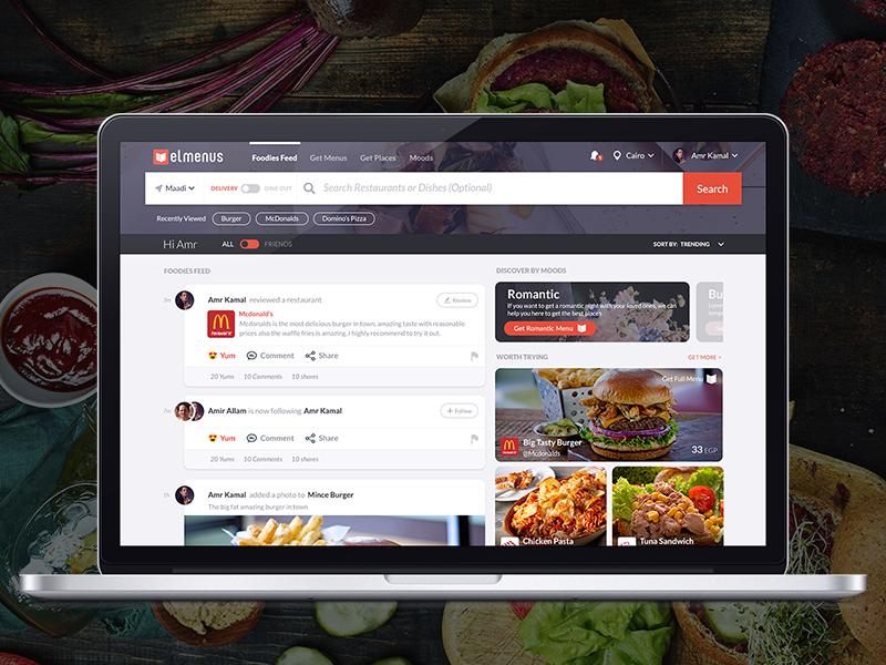 Food Homepage feed ixd interaction design visual design ux homepage ui food