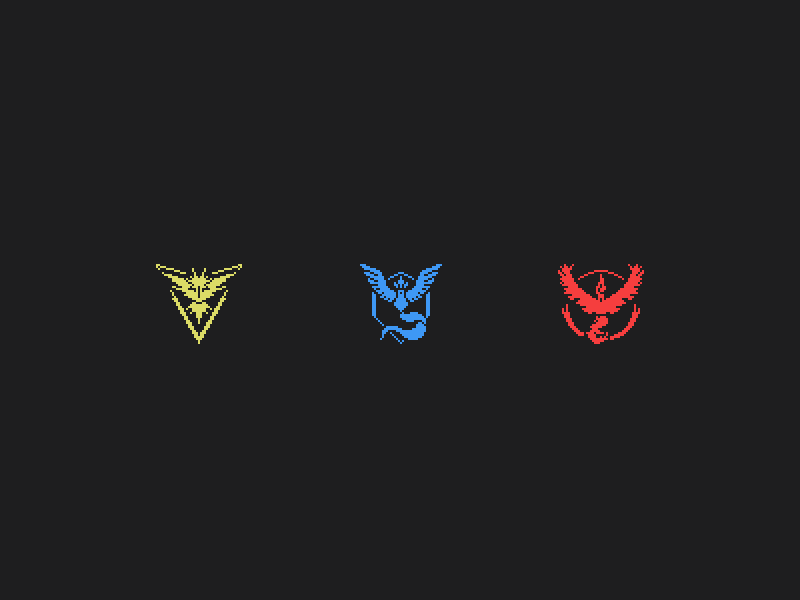 Pixelized Pokemon GO Teams pixelized pixel valor mystic instinct team go pokemon