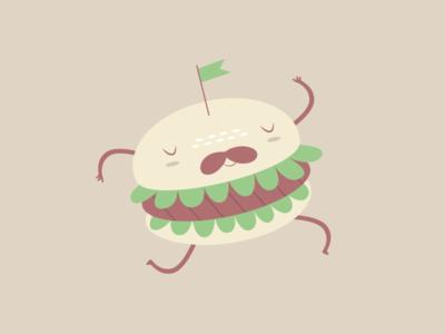 Dancing Panino illustration vector hamburger dance mustache restaurant fast food