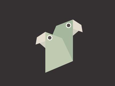 Spanish memories geometry birds couple love parrots green vector illustration