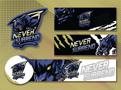 NeverSurrend esport logo design banner panther gaming gaminglogo illustration esports logo alakazam esport logo design logo