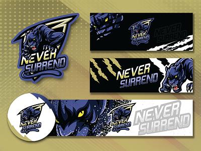 NeverSurrend esport logo design banner panther gaming gaminglogo illustration esports logo alakazam esport logo design logo