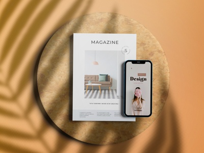 High view phone and editorial magazine mockup logo ui animation motion graphics branding 3d graphic design