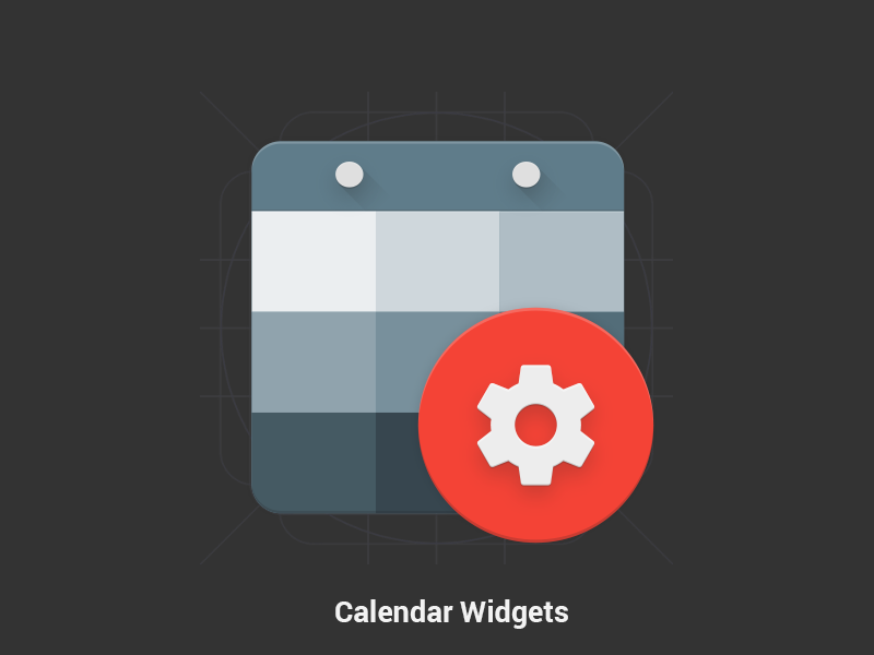 Calendar Widgets - Material Design Icon gear red bluegrey grey blue calendar google materialized icon design material
