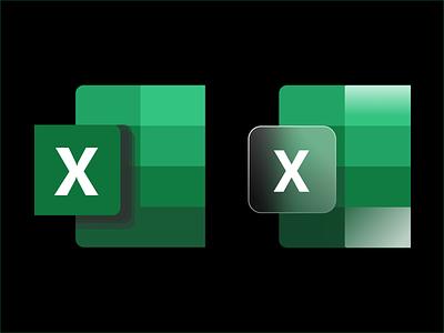 Microsoft Excel Icons windows10 iconography excel glassmorphism microsoft 365 office design dailyuichallenge branding logo illustration icons