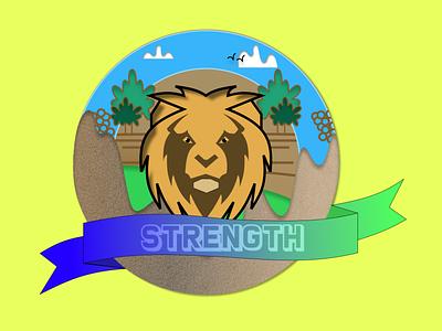 Coin #2: Strength art strength lion series coin logo illustration vector design dailyuichallenge