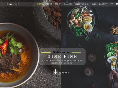 Landing page of a Restaurant