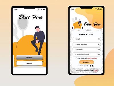 Dine Fine Restaurant Signup Page ui design