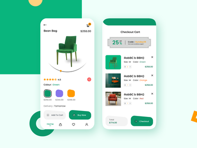 E-commerce Mobile Application Design orange green product page checkout page e commerce furniture app order booking app colour illustration application app ux ui design