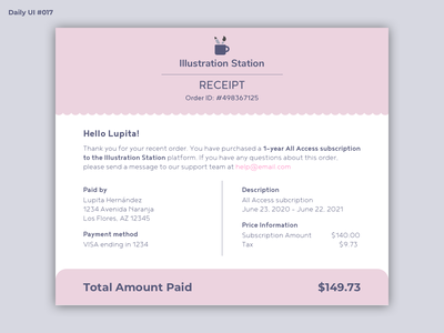 Daily UI #017 - Email Receipt payment receipt payment receipt email receipt email dailyui 017 dailyuichallenge dailyui