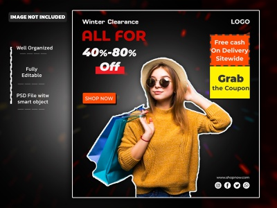 Instagram posts collection for winter sale Free Psd freebie free mokup free psd social media template creative designs maketing social media post design colorful design facebook ad vector logo creative branding ads facebook post banner instagram banner instagram post