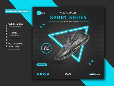 New arrival sport shoes social media post Template PSD logo design creative branding sale web banners banner ad banner insta post facebook post shoes promotion new arrival shoes discount social media post sport shoes instagram post shoes design shoes