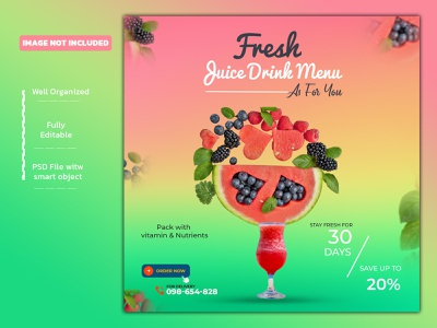 Juice drink menu social media post banner Instagram template typography juice drink juice ux ui banners creative ads social media design branding design logo facebook banner instagram post drink delicious food food brochure template