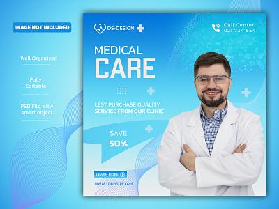 Medical Care banner template with Free social media design facebook post instagram banner instagram post logo illustration design branding banners