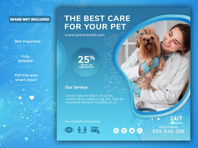 Banner for pet care with a female veterinarian/banner design facebook post branding banners illustration social media design pet