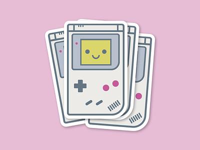 Game Boy Stickers childhood nineties old school vector illustration nintendo game video games minimal cute gameboy sticker