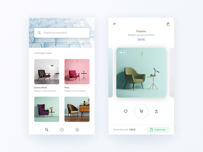 Minimal ecommerce experience shop store eshop ecommerce e-commerce checkout pay card purchase cart fashion experience interior flat gradient shadow minimal carousel app ios iphone white clean light design photo photography ux ui interaction grid typography