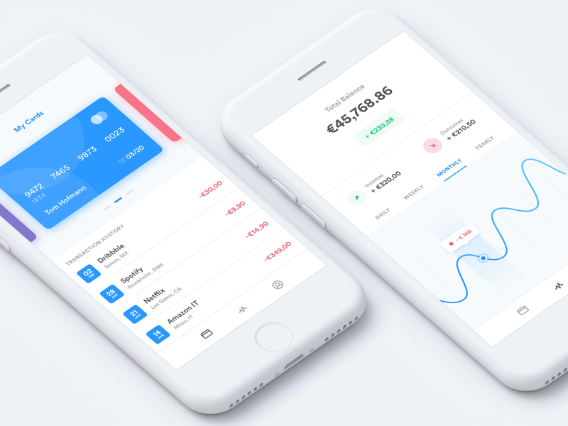 Wallet dashboard statistics wallet stats crypto currency graph modern shop ico bitcoin ui ux fintech design mobile app ios iphone card chart credit cart finance income payment money bill subscription manager clean flat shadows minimal white