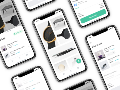 Bag - E-commerce Experience shop store eshop ecommerce e-commerce checkout pay card purchase cart fashion experience interior flat gradient shadow minimal carousel app ios iphone white clean light design photo photography ux ui interaction grid typography